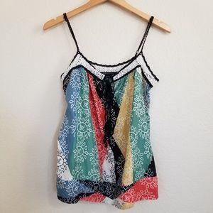 BCBG MAXAZRIA Silk Printed Camisole Top Small